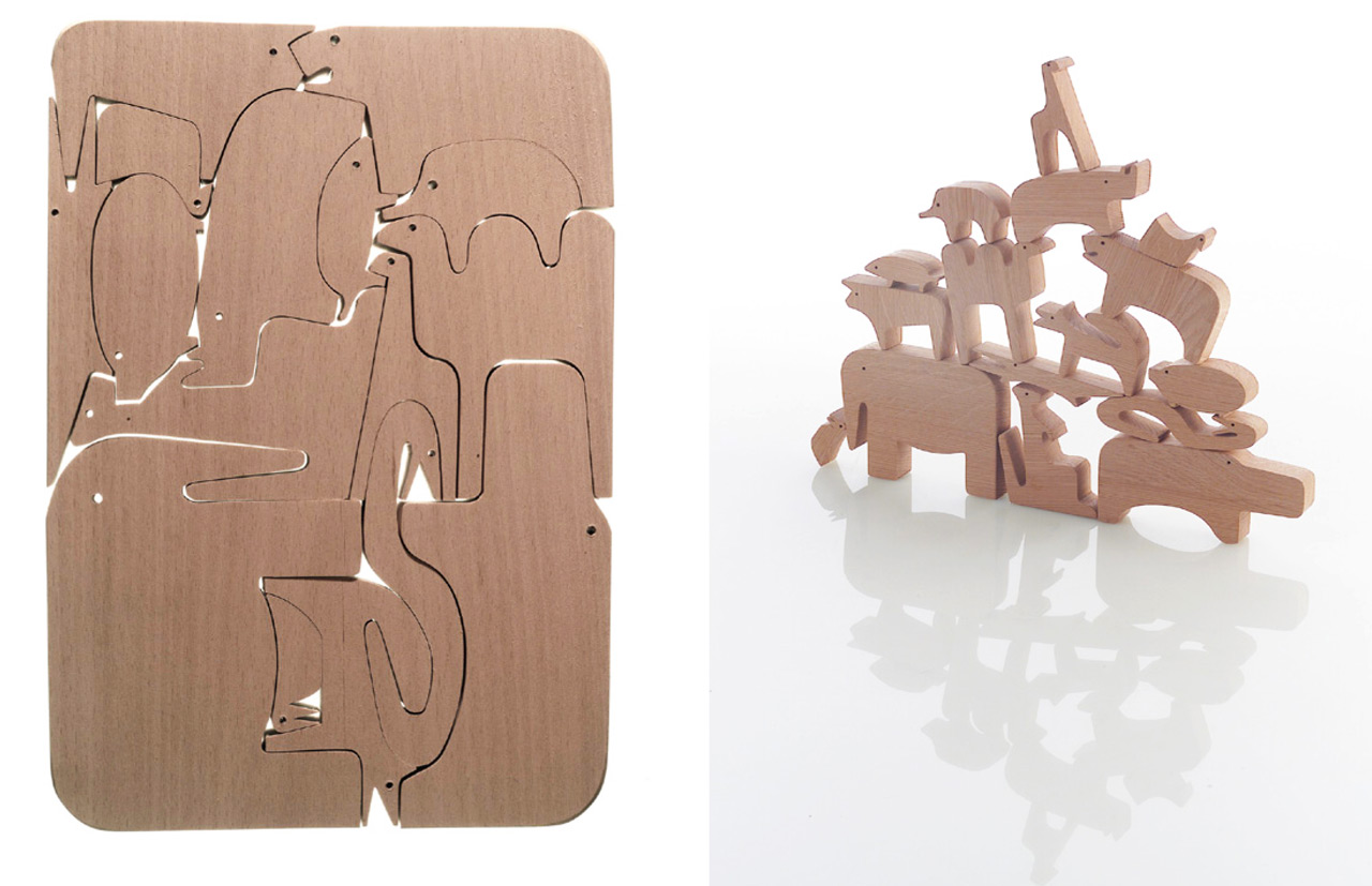 16 animals was one of the first pieces on the market, produced in a limited edition: a 3D puzzle made by slotting different animals together. Design inspired by researching the creative process...