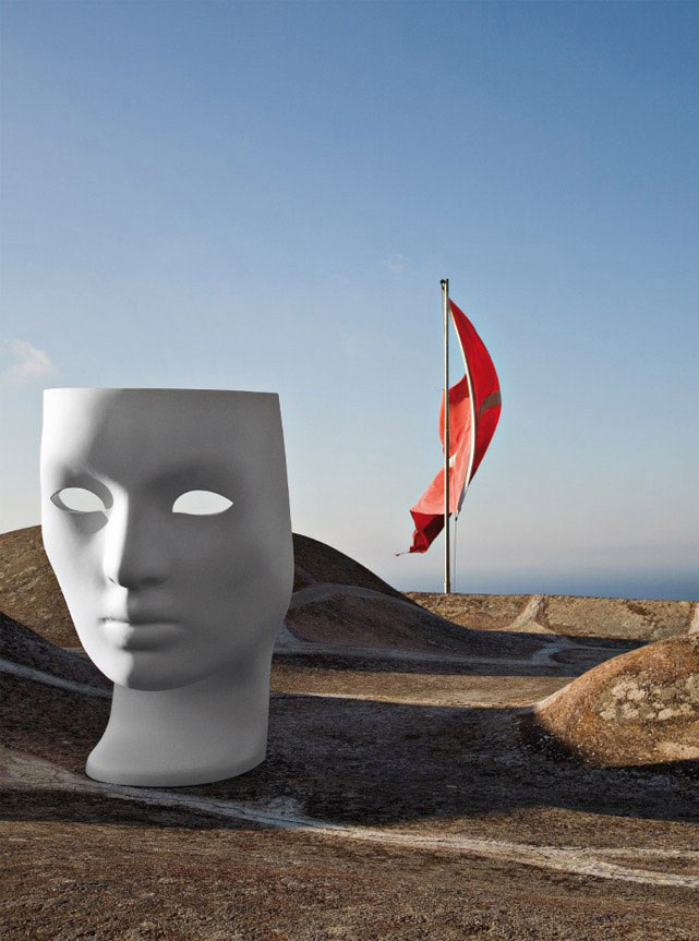 Nemo looks like a hollowed skull or a shell; it also doubles up as seating. Nemo is inspired by ancient Greek art; at the same time, this mask hides and reveals parts of the user. Made from a...