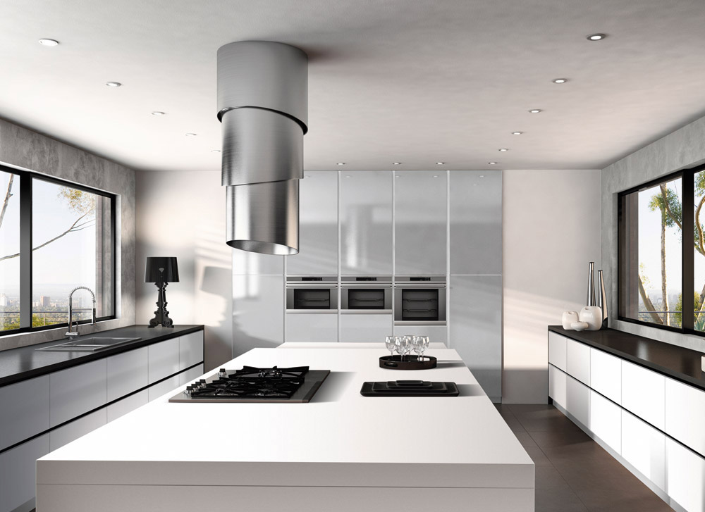 Faber cooker hoods suction or filter hoods for the kitchen for Cappa design