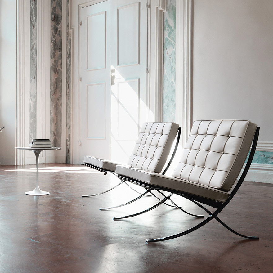 Symbol of elegance and innovation, the Barcelona armchair was designed for the 1929 Barcelona  International Exposition.  Meant for mass production, this armchair combines attention to detail an...