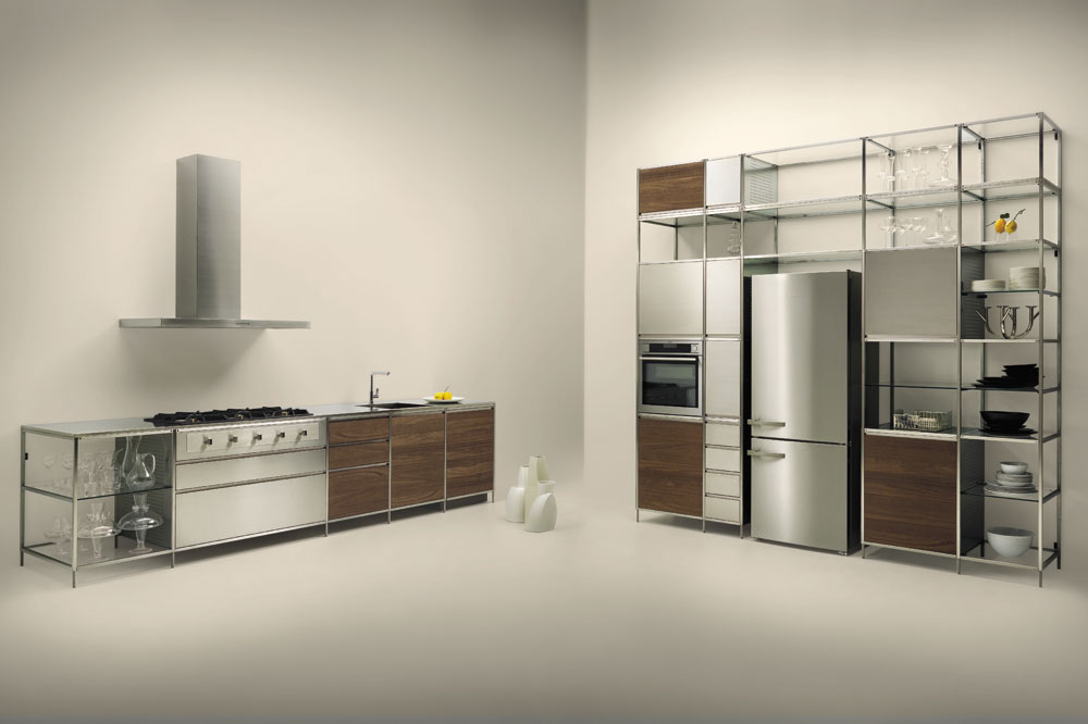 A highly versatile kitchen with a lightweight frame which allows for additional units by means of joints.