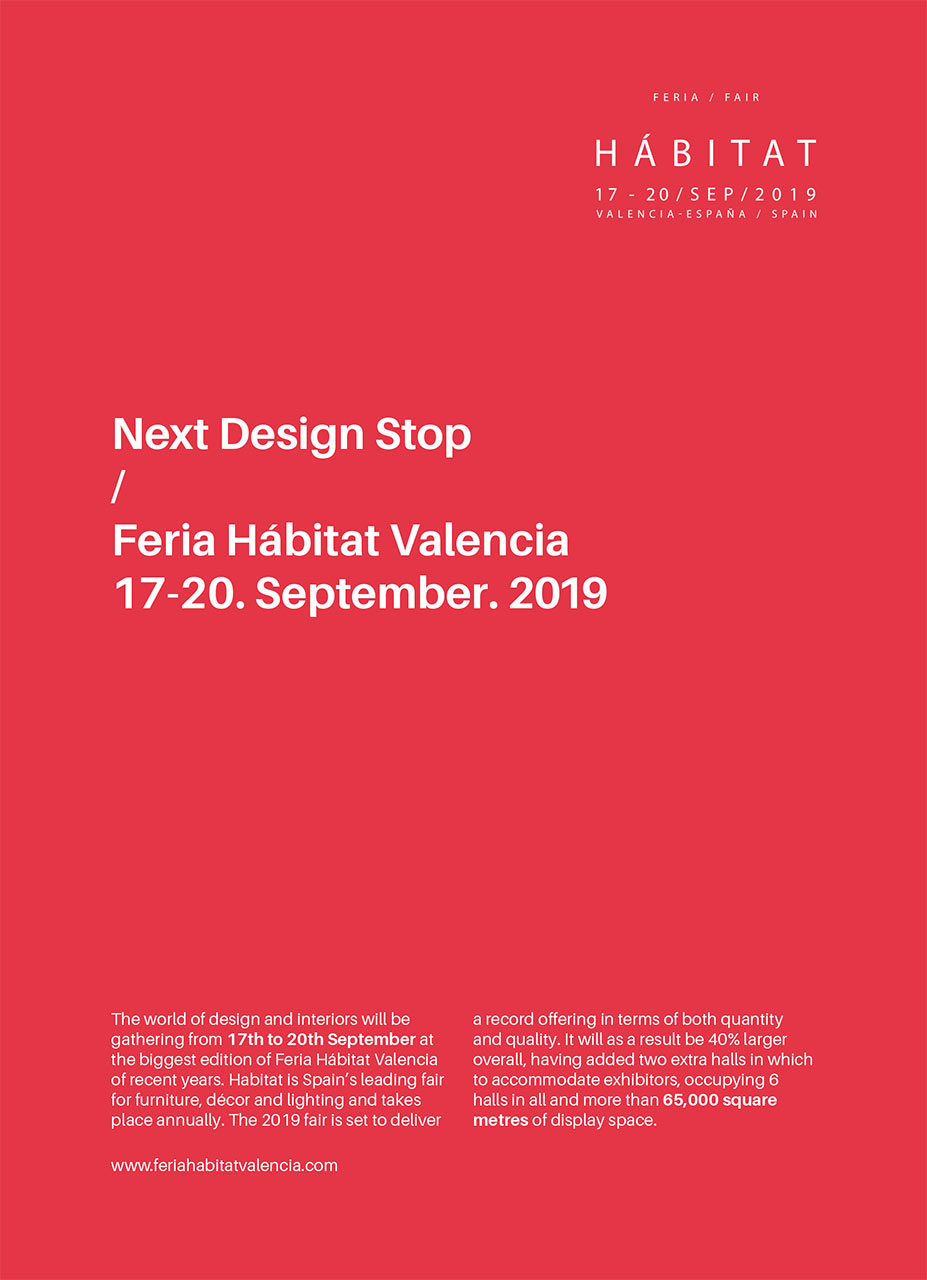 Feria Habitat Valencia 2019, the international furniture and lighting fair of Valencia.