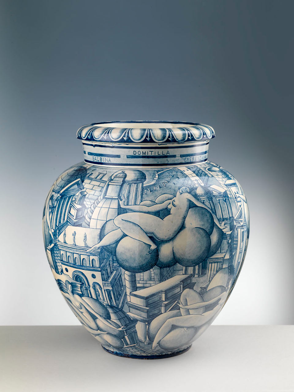 Donne su Nubi, large vase - 1923 (concept), 1924-1925 (creation), majolica painted in blue