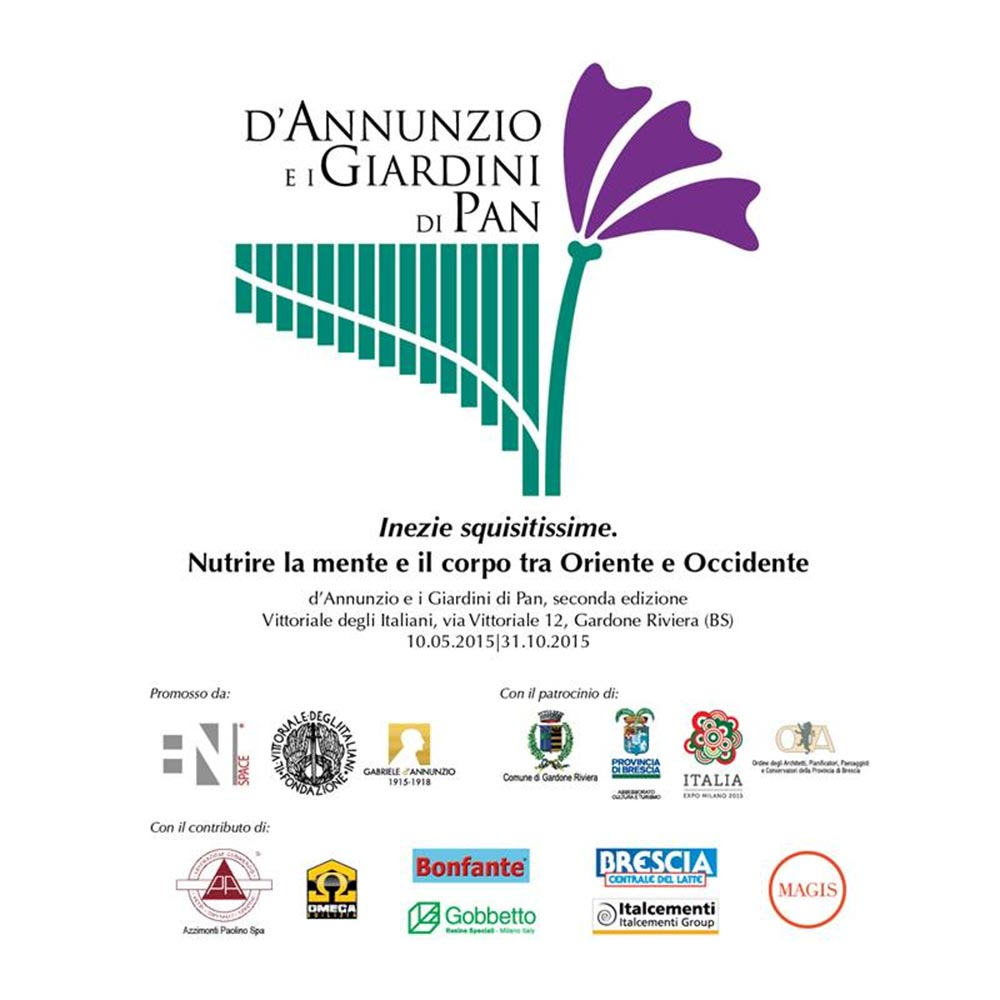 The poster of the exhibition 'D'Annunzio e i Giardini di Pan'
