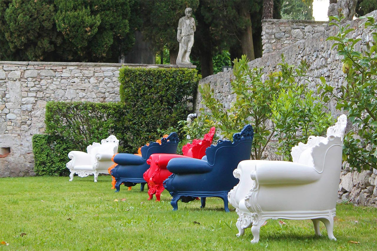 Armchairs Proust by Magis in the exhibition 'D'Annunzio e i Giardini di Pan'