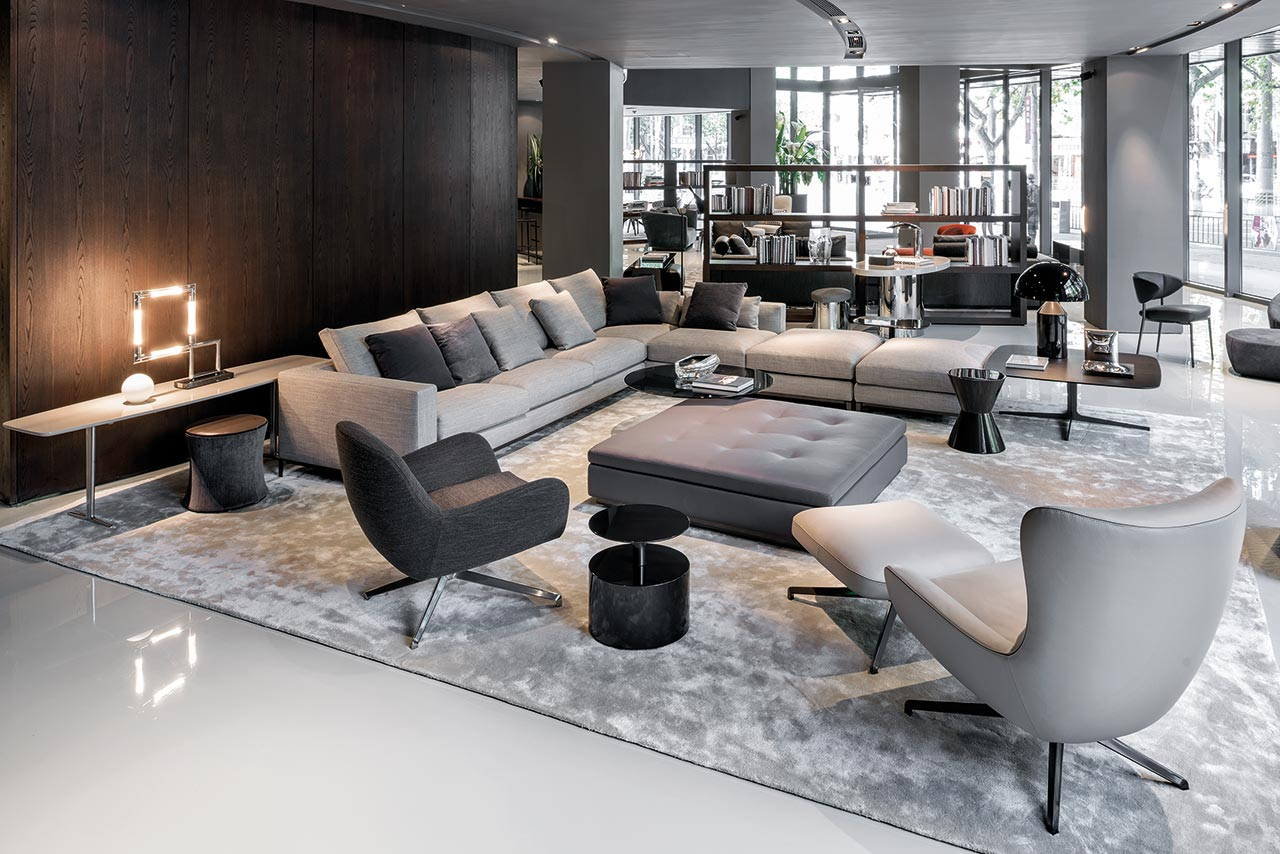 Healey camelback upholstered chair bloomdesignstudio - Minotti Italia Showroom In Shangai Images