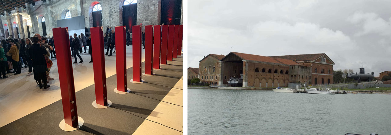 La scenografica installazione delle 10 T Tower di Antrax IT all'Arsenale a Venezia.