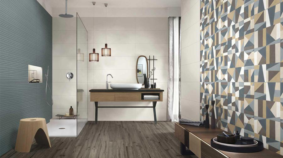 Wood and geometric patterns for the modern bathroom