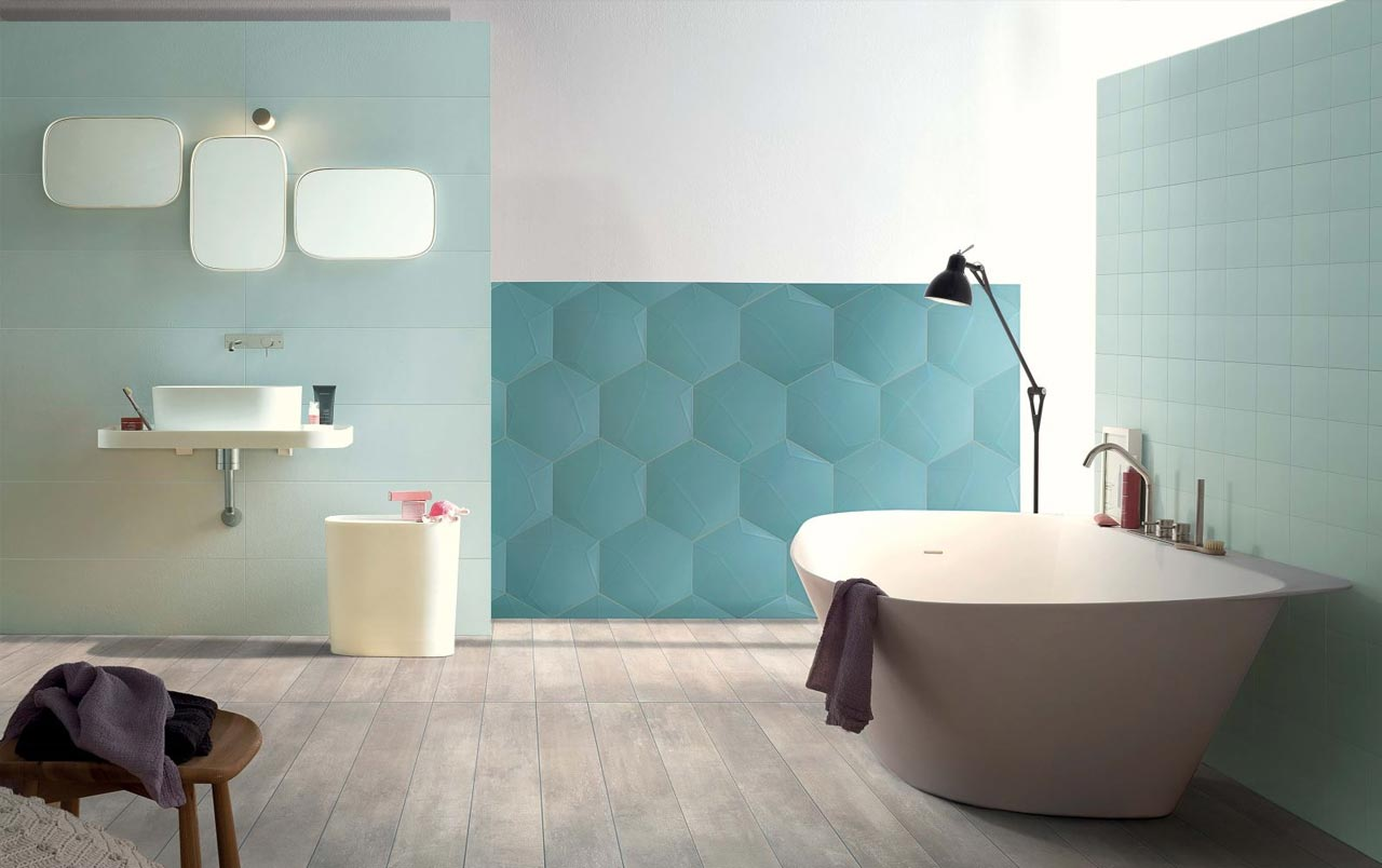 In the modern bathroom, informal shapes for a light ambience