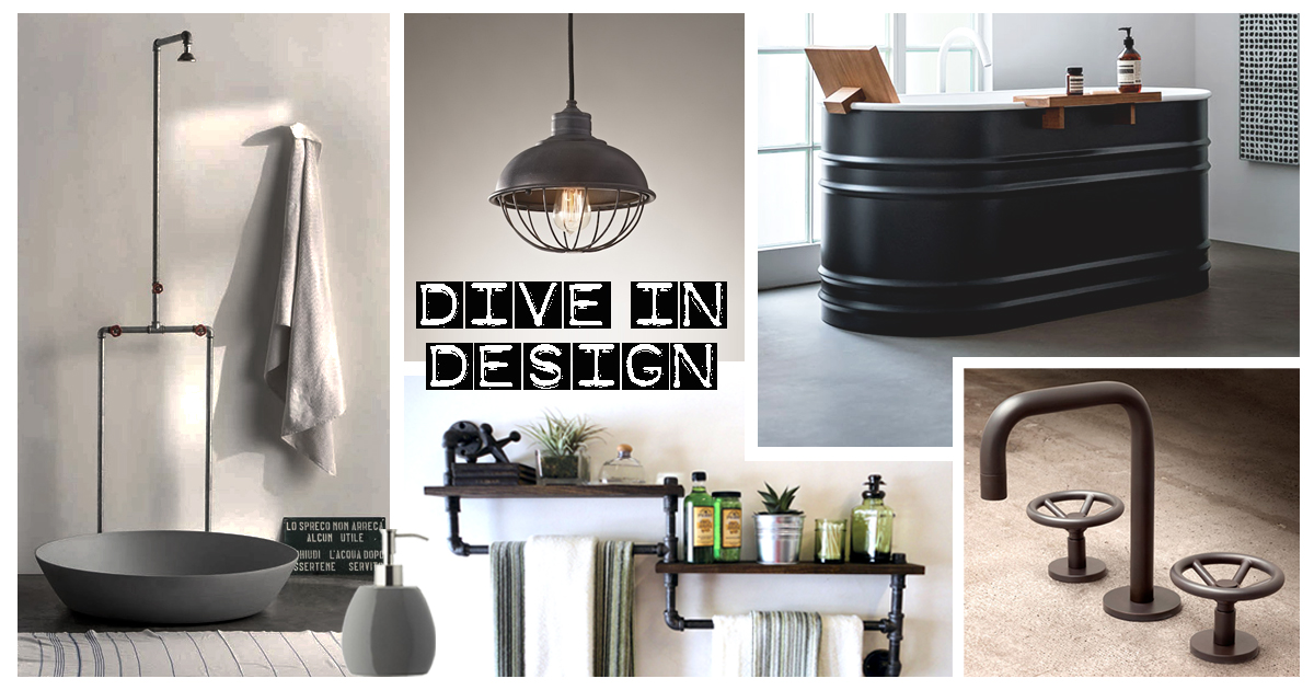 moodboard bathroom in industrial style. Black Bedroom Furniture Sets. Home Design Ideas