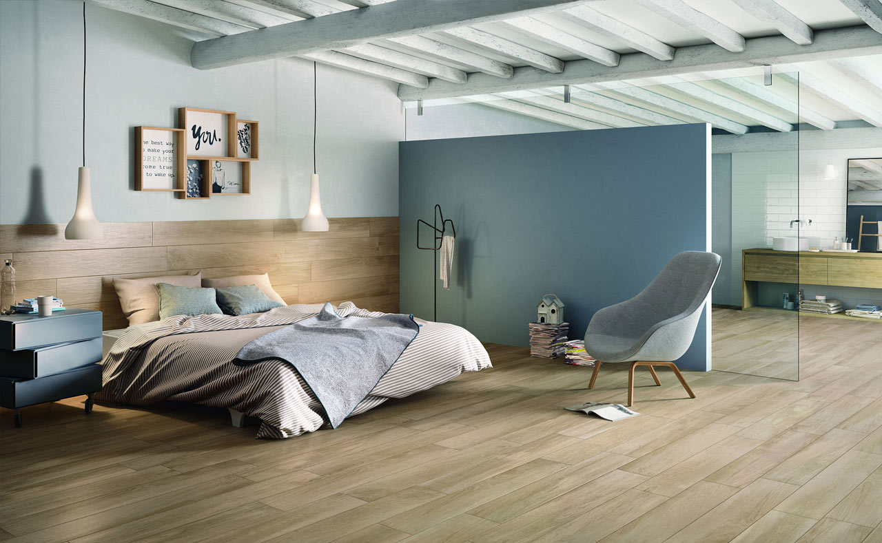 In this bedroom, soothing colours and timber panelling