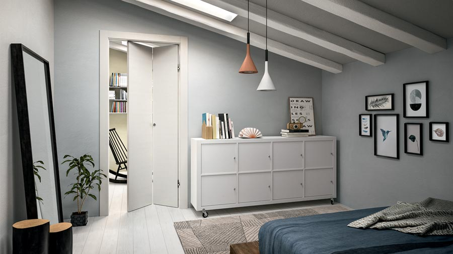 An attic apartment with a concertina folding door