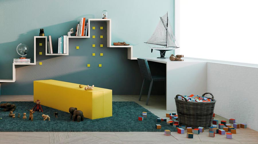 Bold geometries for a kids' study