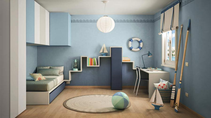 White and blue, a fresh kid's bedroom