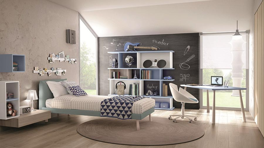 A kid's room with vivid sky blue touches