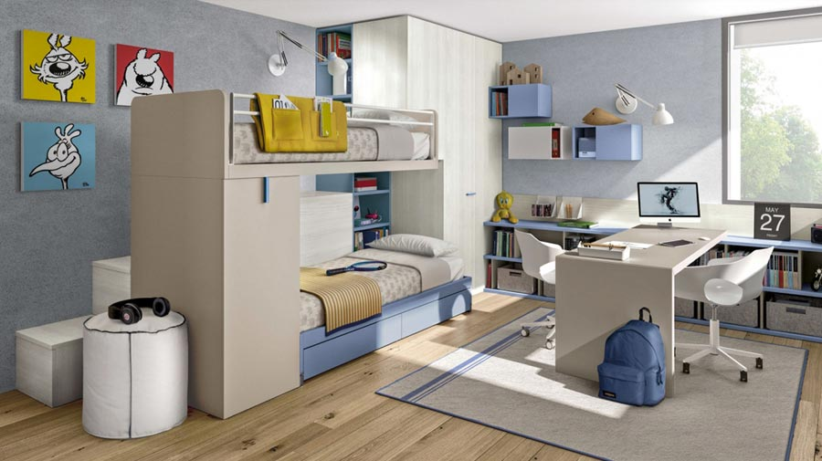 A room for two kids: to each his own space
