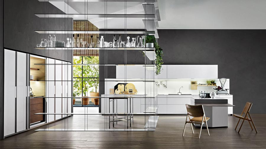 Open shelving separates the kitchen