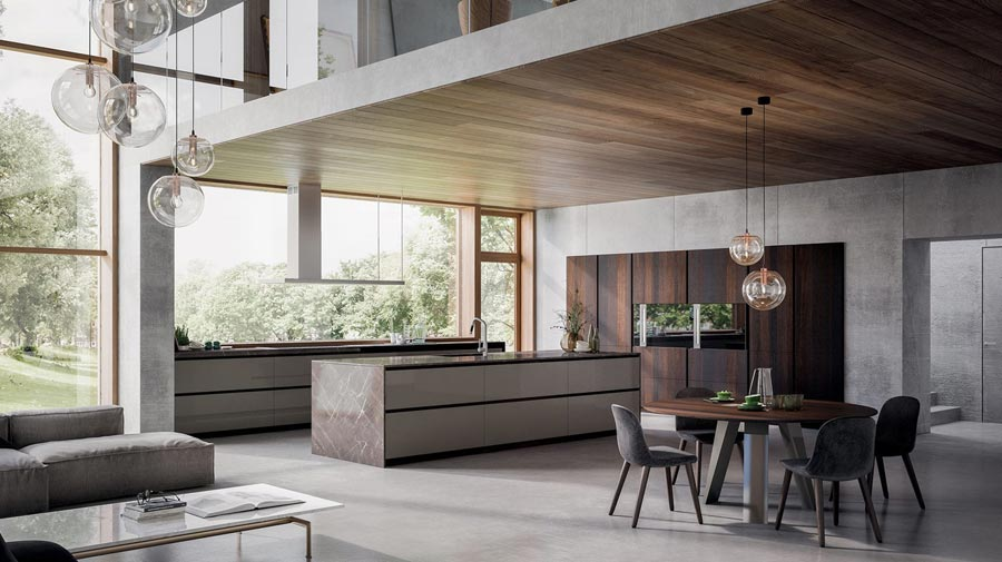 Oversized island and fine materials: the kitchen takes to the stage