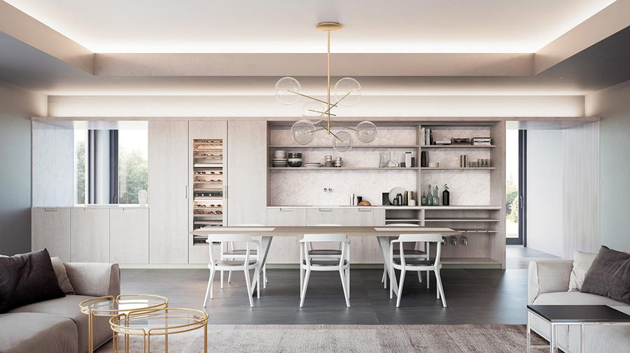 The wall-to-wall kitchen with sommelier-worthy details