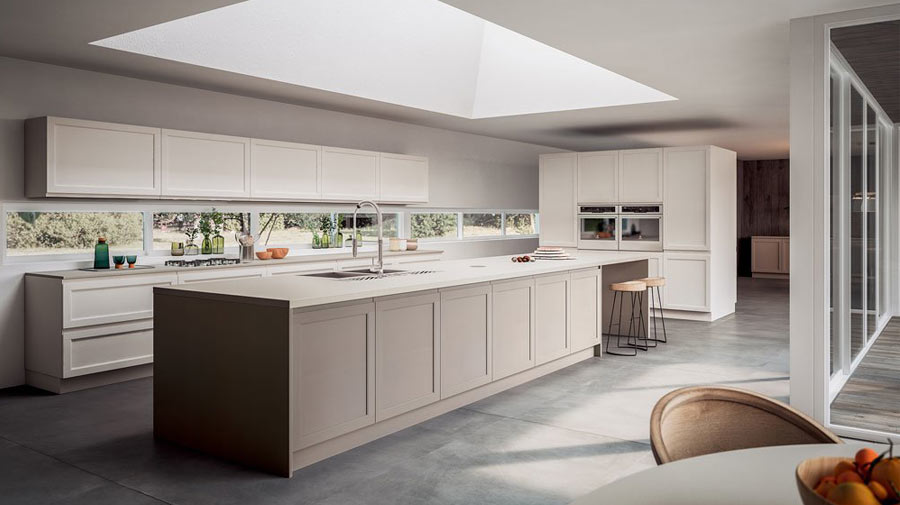 A convivial kitchen with an elongated island