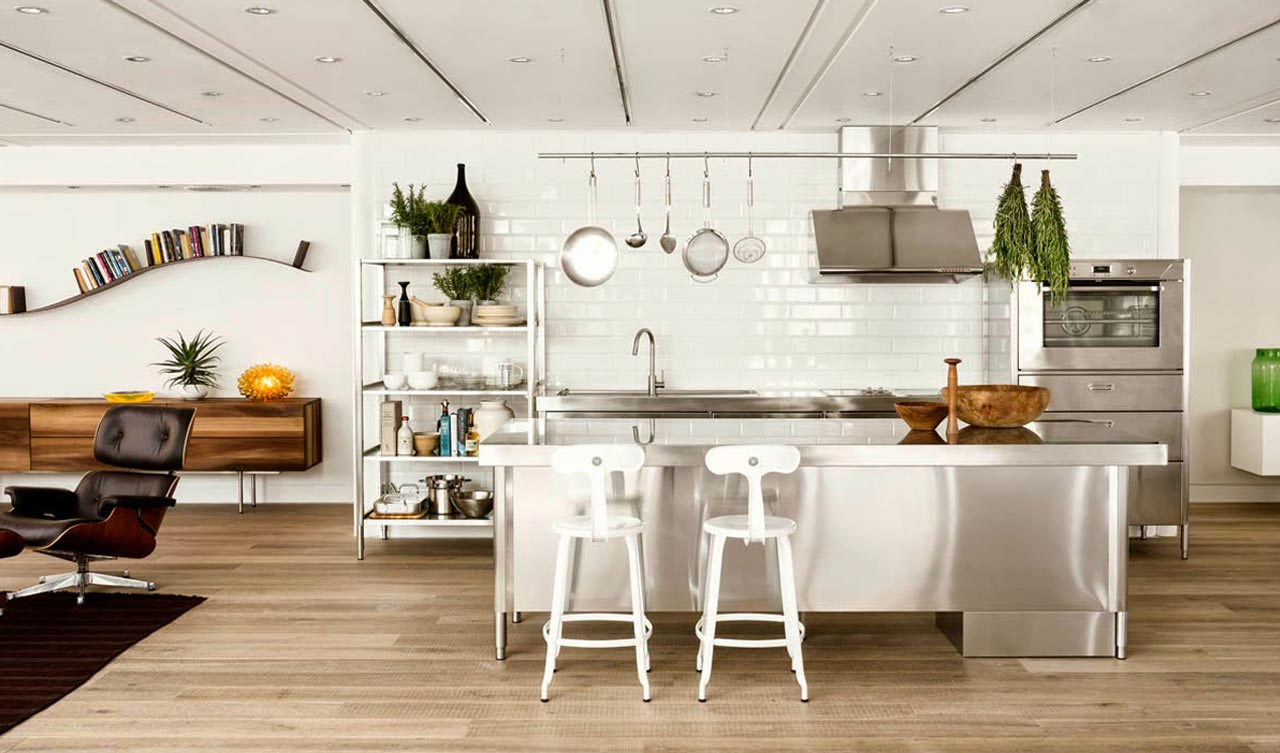 Kitchen industrial-style: the practicality of steel