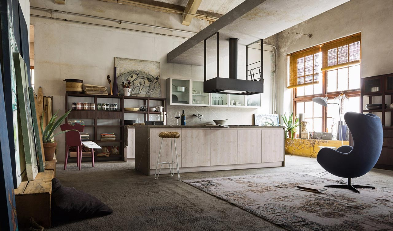 Cucina open space in stile industriale for Look industriale per case