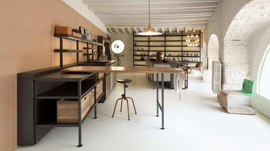 In the kitchen, a classier industrial style