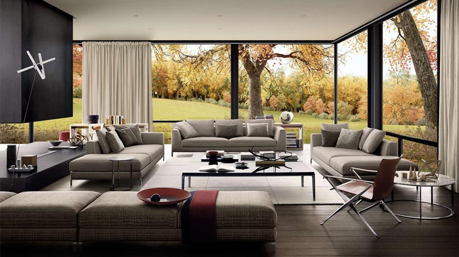 The living room with a view of autumn