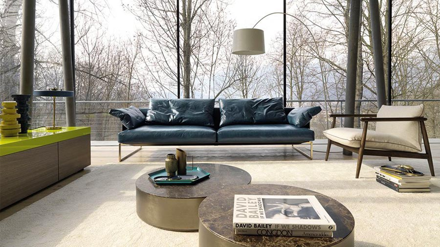 The weathered leather sofa is the new classic piece