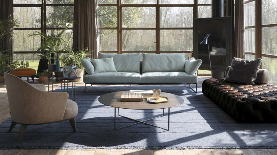 A soothing living room in sky-blue and earth-tones