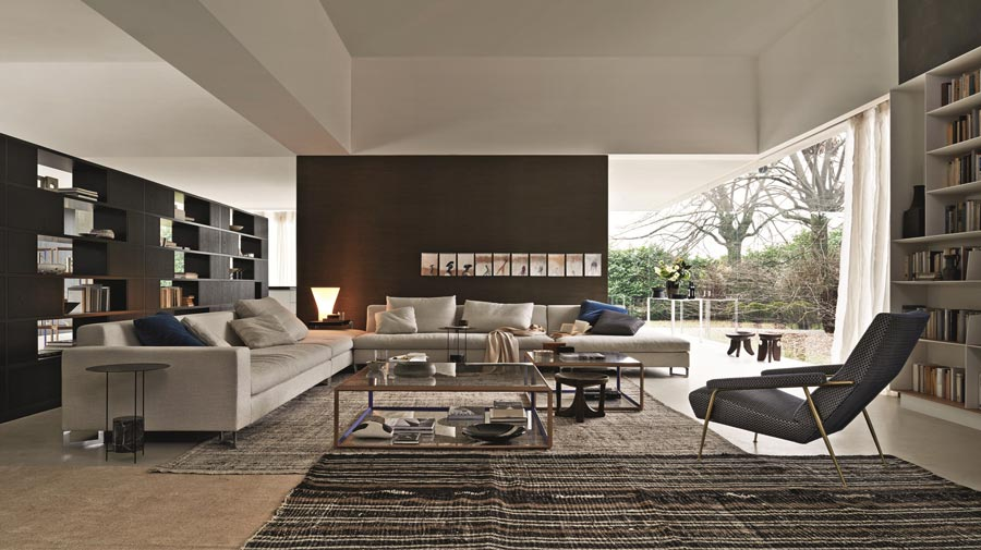 In the modern living room, neutral tones and a hint of design