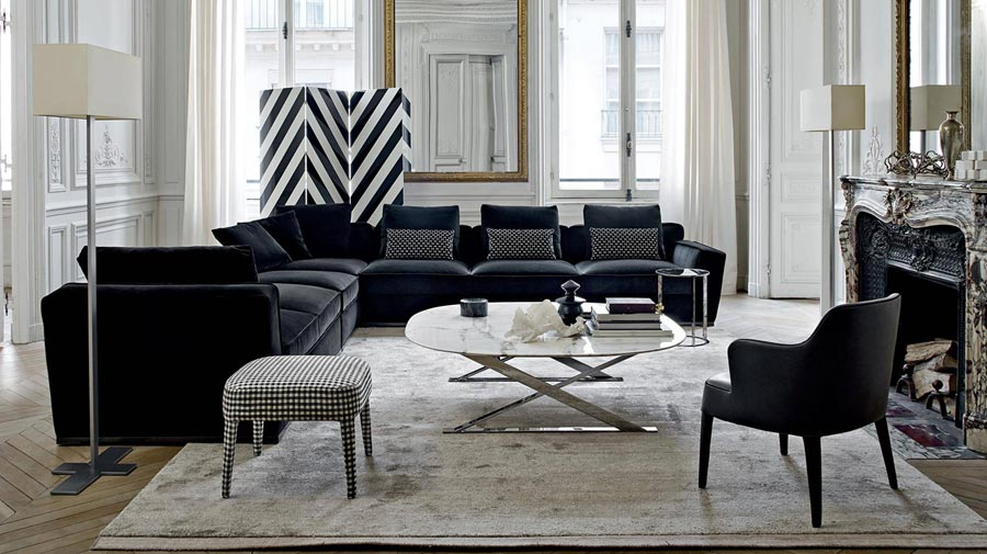 A living room in optical black-and-white