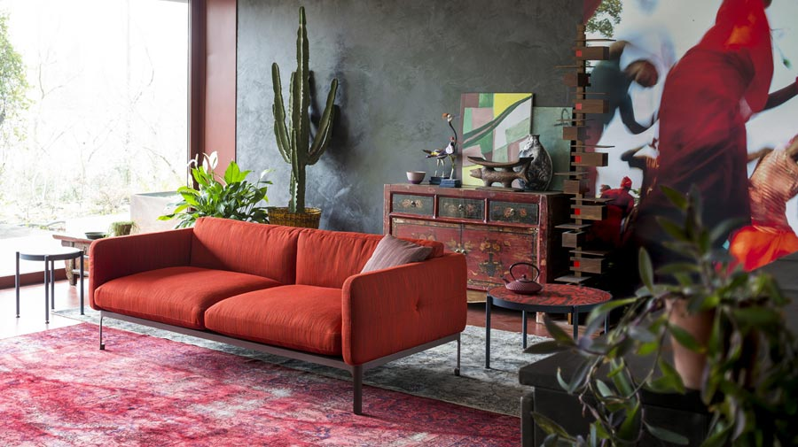 A bright living room that travels around the world