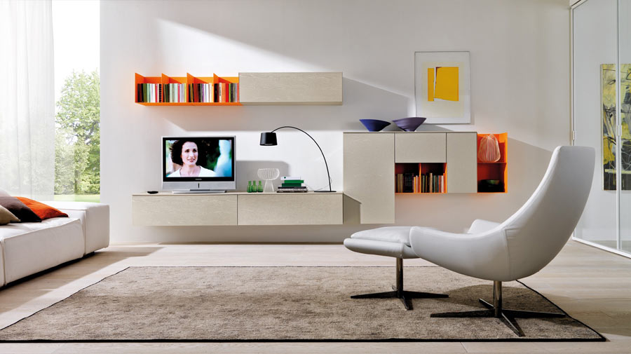 A vibrant living room in white and orange