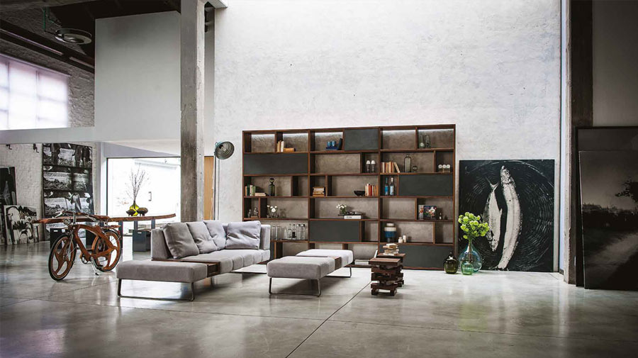 An open-plan living room in industrial style