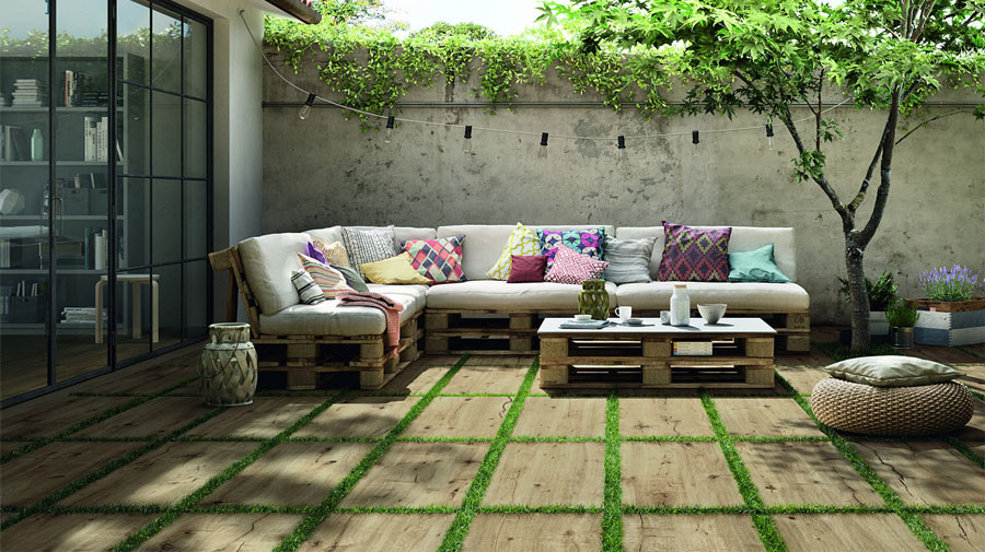 A boho-chic living room on the patio