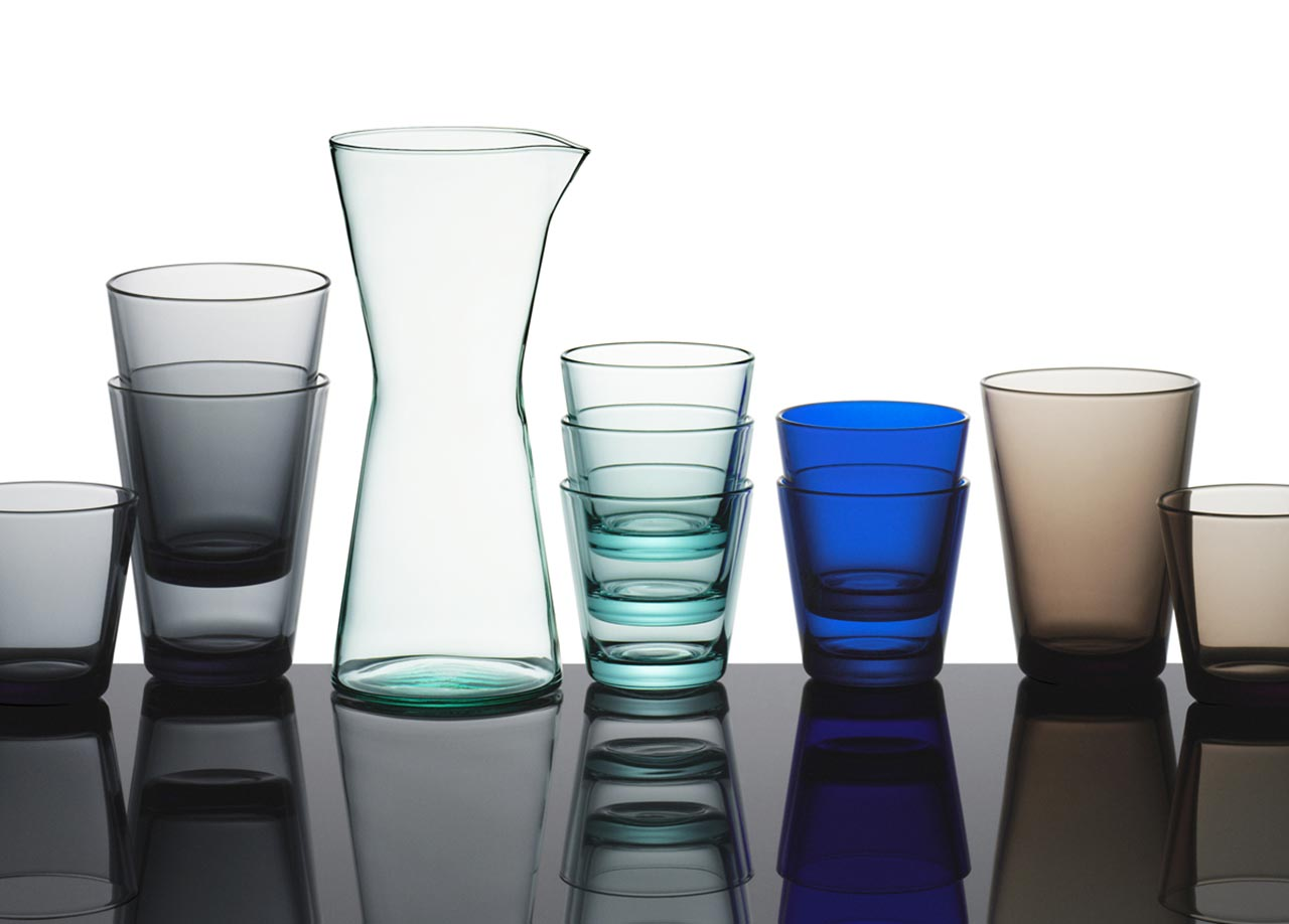 Ittala, carafe and glasses Kartio