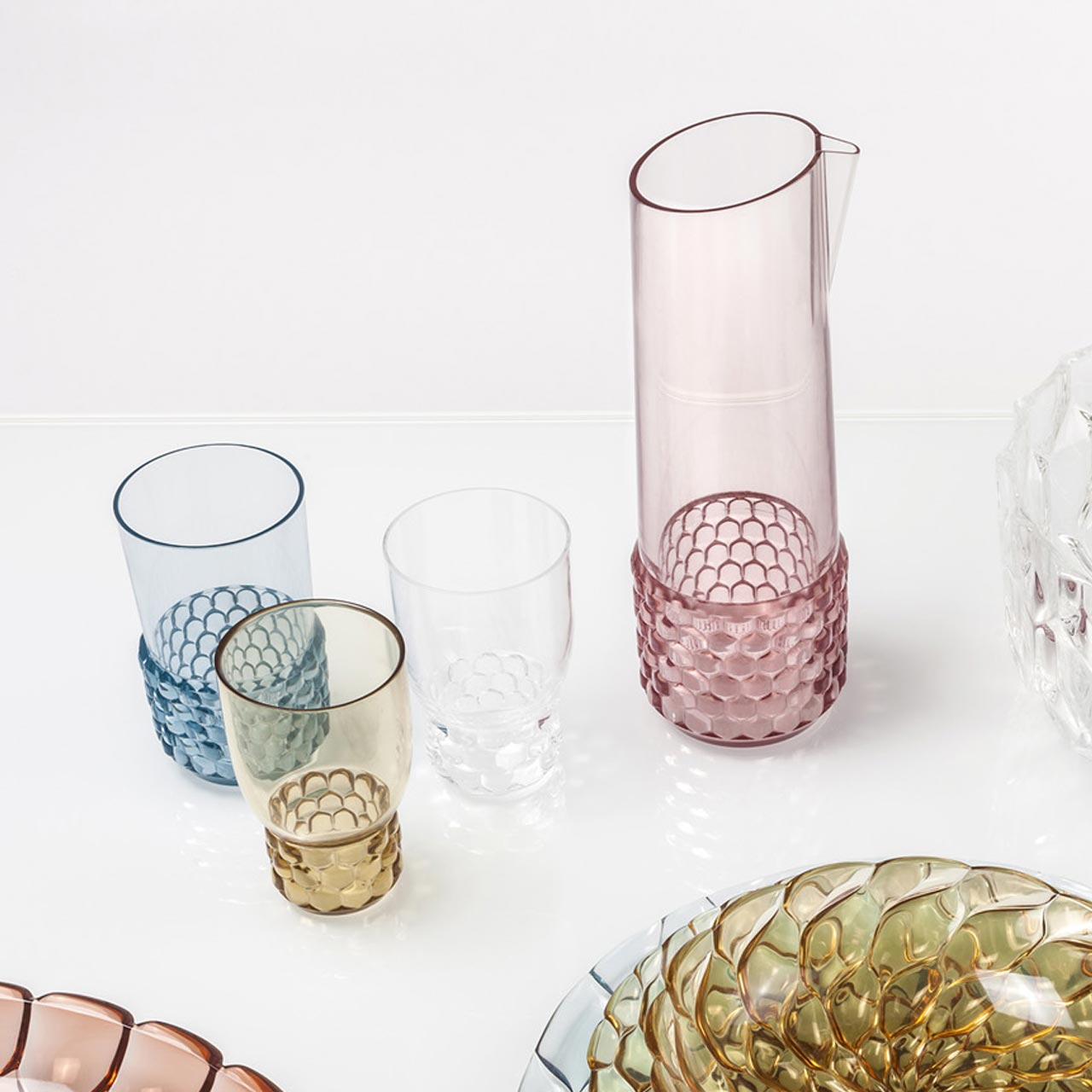 Kartell, carafe and glasses Jellies Family