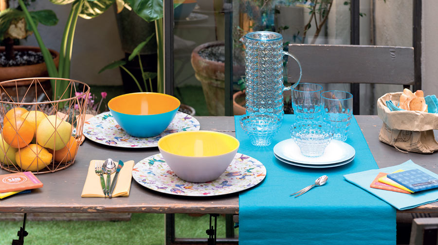 The summer table is an explosion of colour