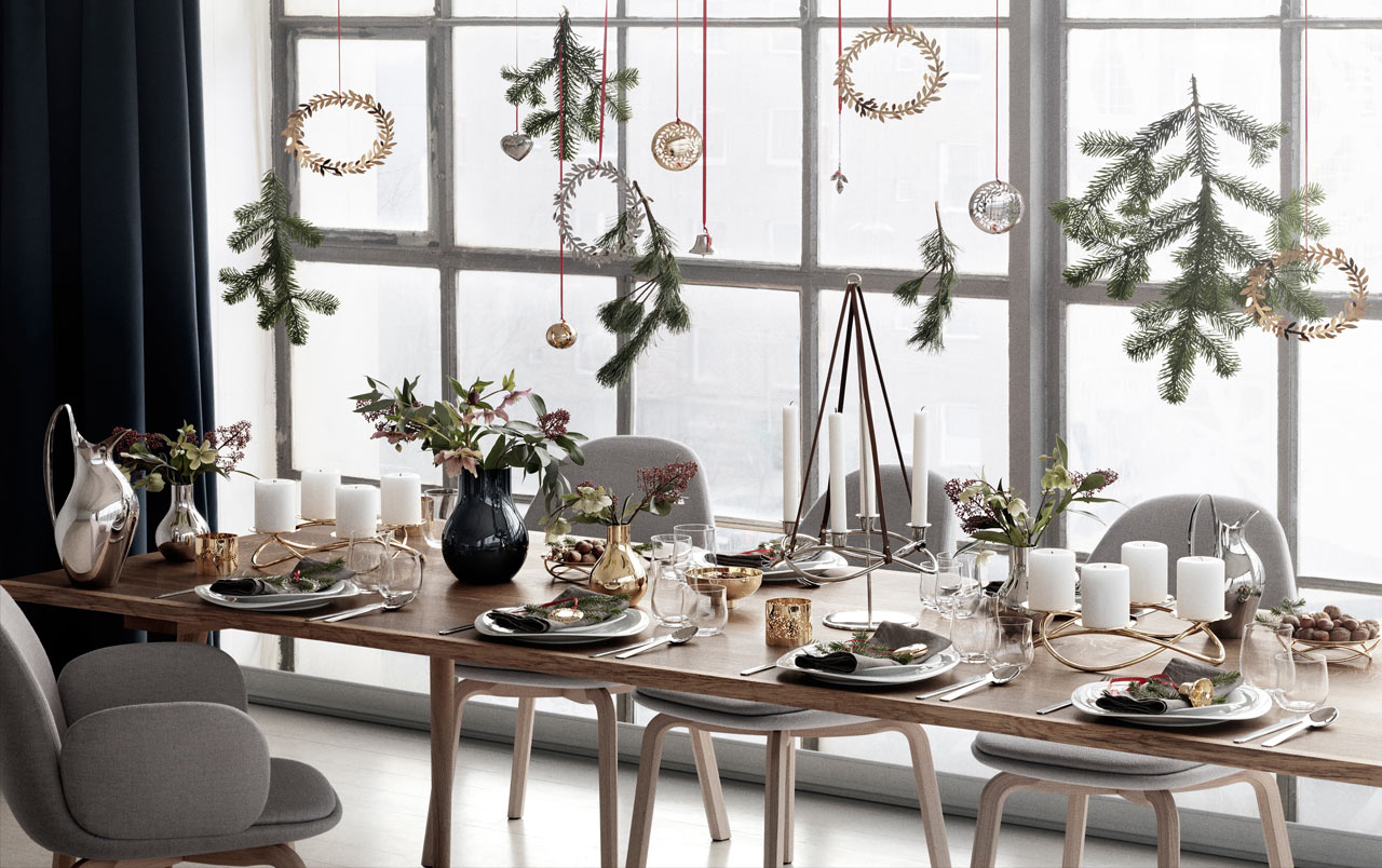 Christmas table settings in scandinavian style for Casa di campagna arredamento