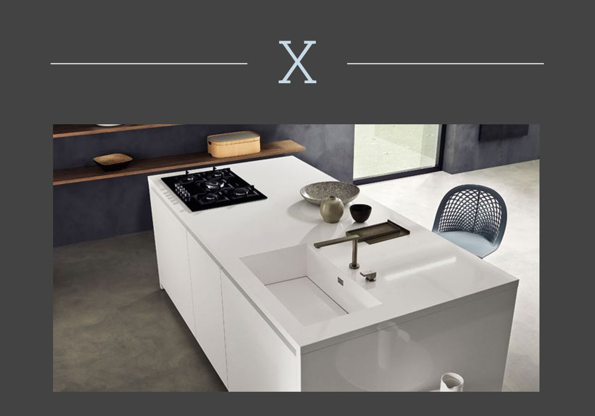 the kitchen countertop in fenix