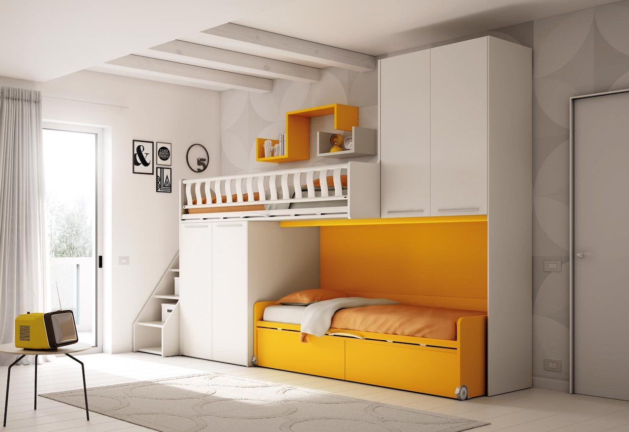 Composition for bedroom KS 205, Kids collection, Moretti Compact.