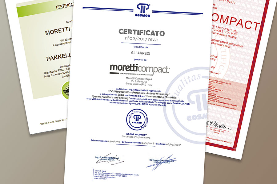 Quality and safety certifications of the Moretti Compact furniture.