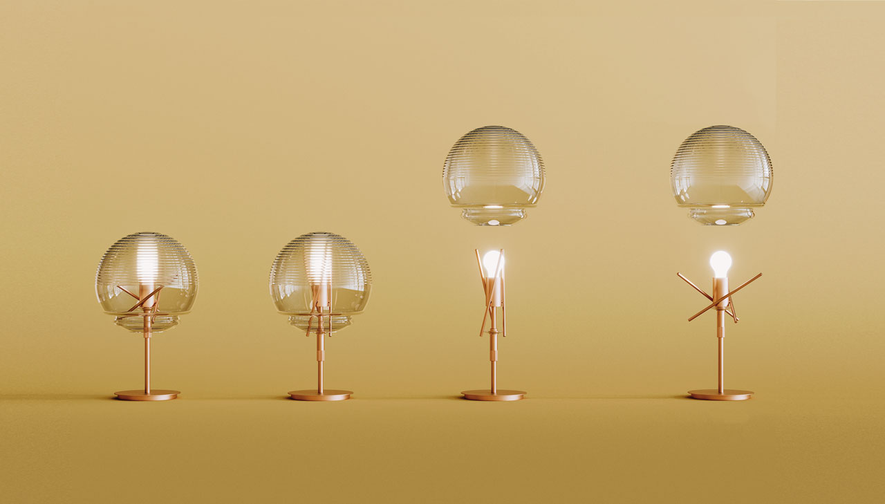 Vitruvio by Artemide, a lamp with a mechanical intelligence