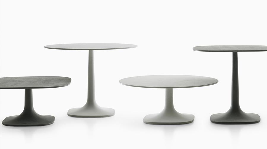 Fiore by B&B Italia, light outdoor concrete tables