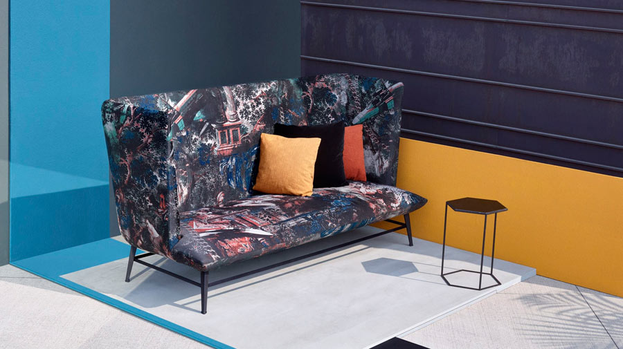 Gimme Shelter Natural Orgy by Diesel with Moroso, the flock pattern sofa