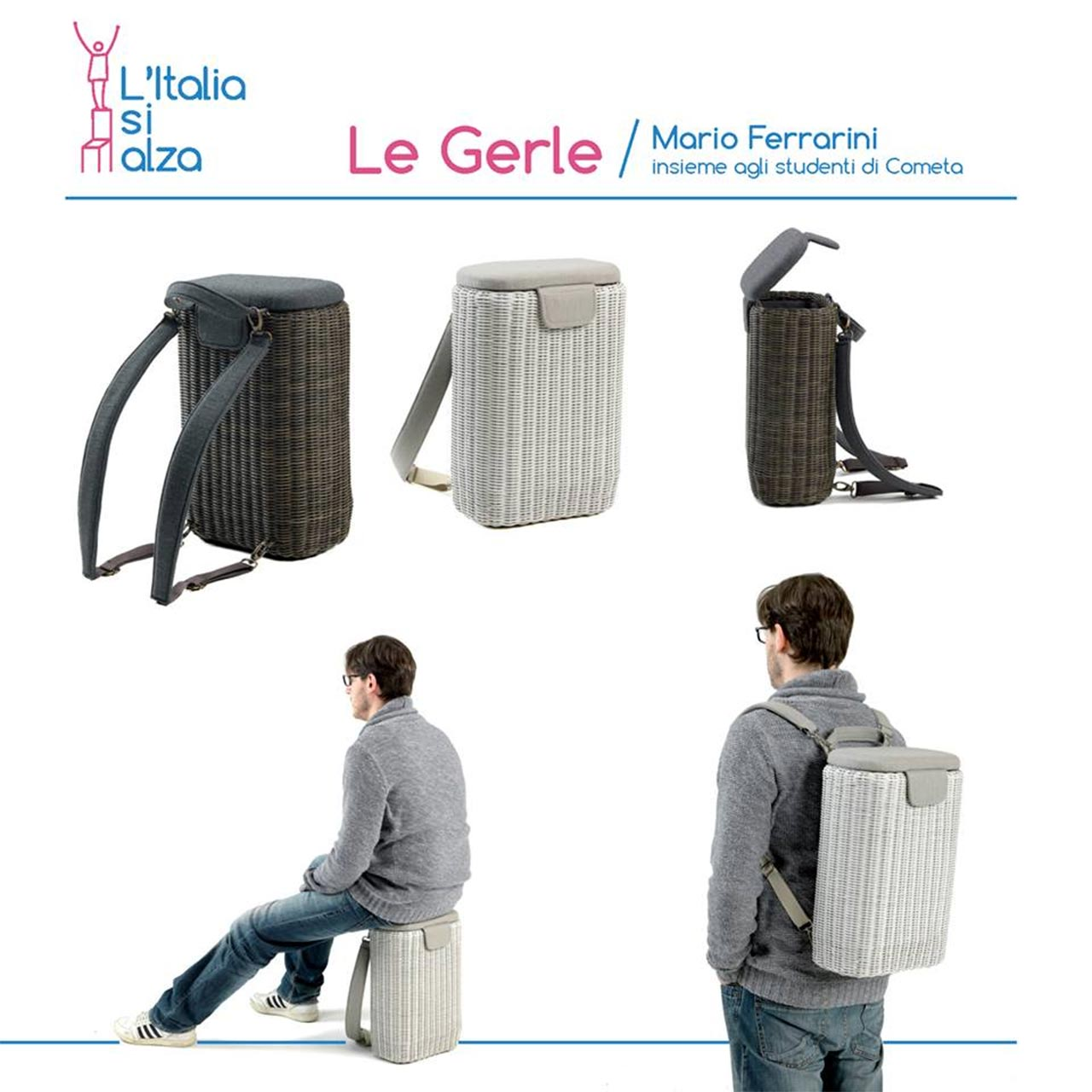 Le Gerle by Ethimo, designed by Mario Ferrarini with the young students of Oliver Twist School by Cometa