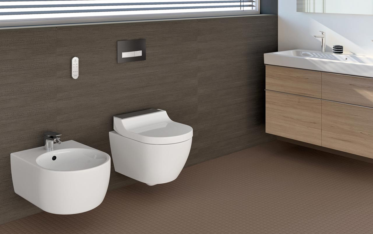 wc aquaclean tuma di geberit con bidet incorporato. Black Bedroom Furniture Sets. Home Design Ideas