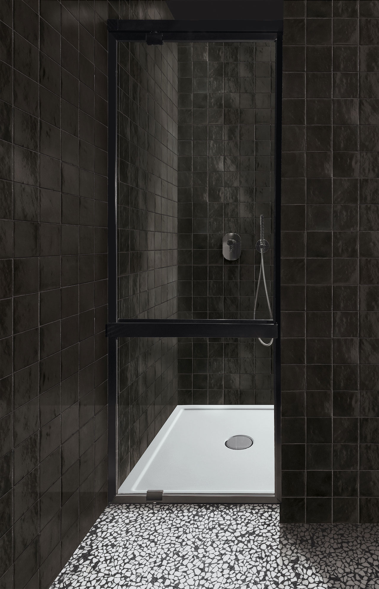 Zellige Collection tiled walls, Ghiara Collection floors, Crogiolo 2109, Marazzi Ceramiche.