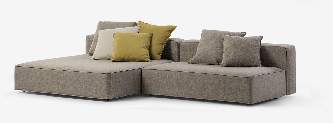 Dandy sofa: corner piece assembled using two smaller units